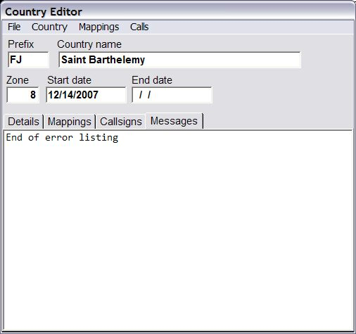 Country Editor No Errors